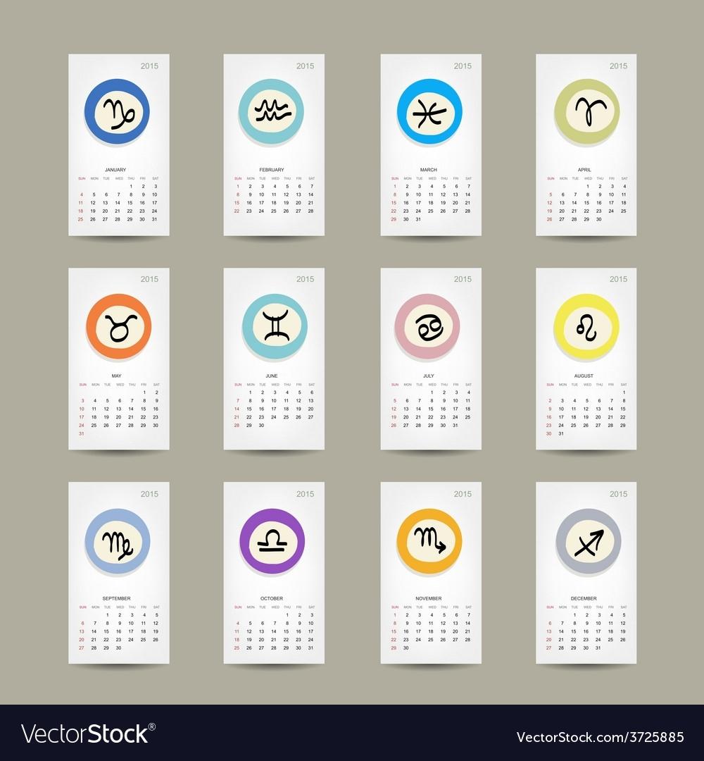 Calendar Grid 2015 Zodiac Signs Design