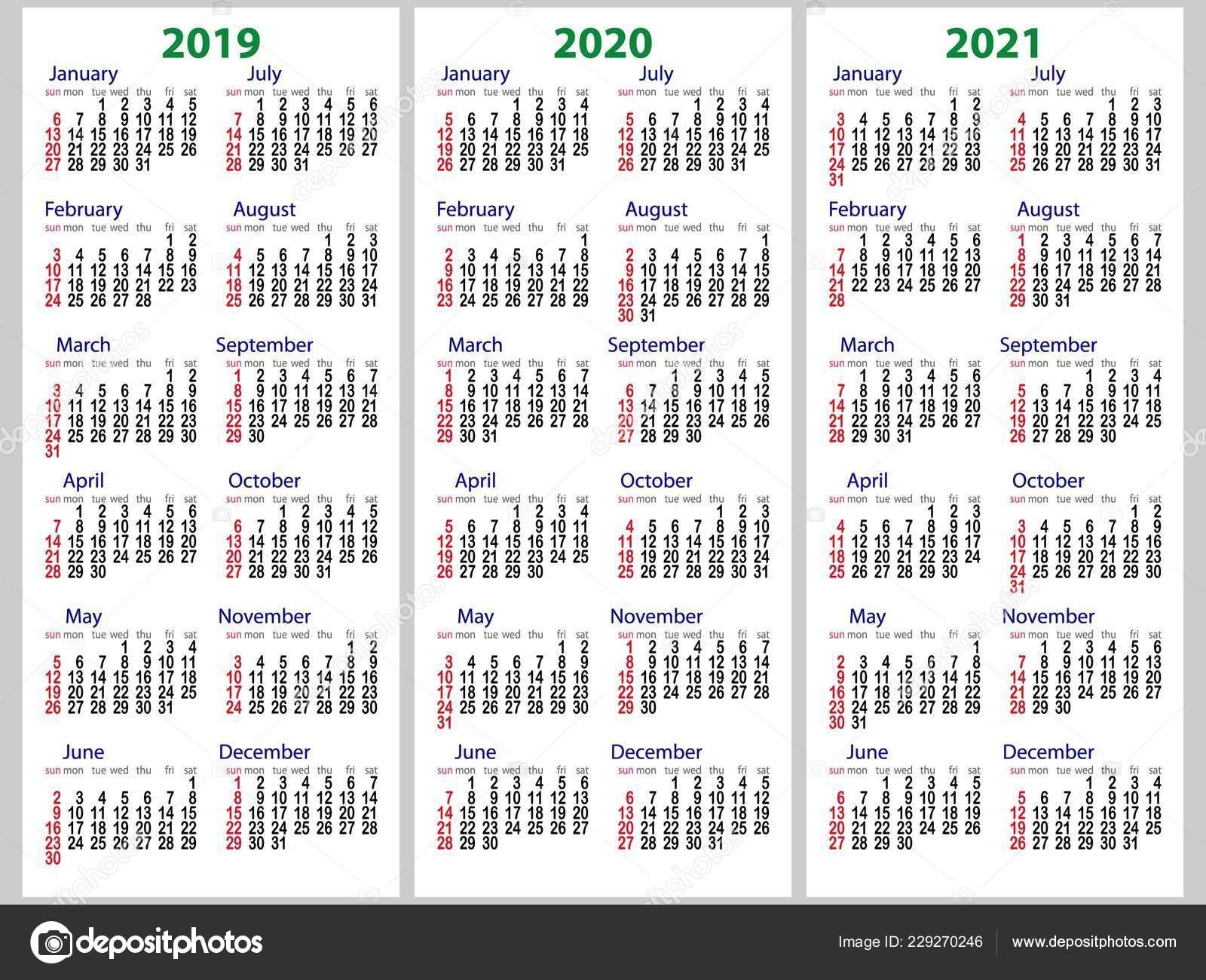 Calendar Grid 2019 2020 2021 Years Set Week Starts Sunday