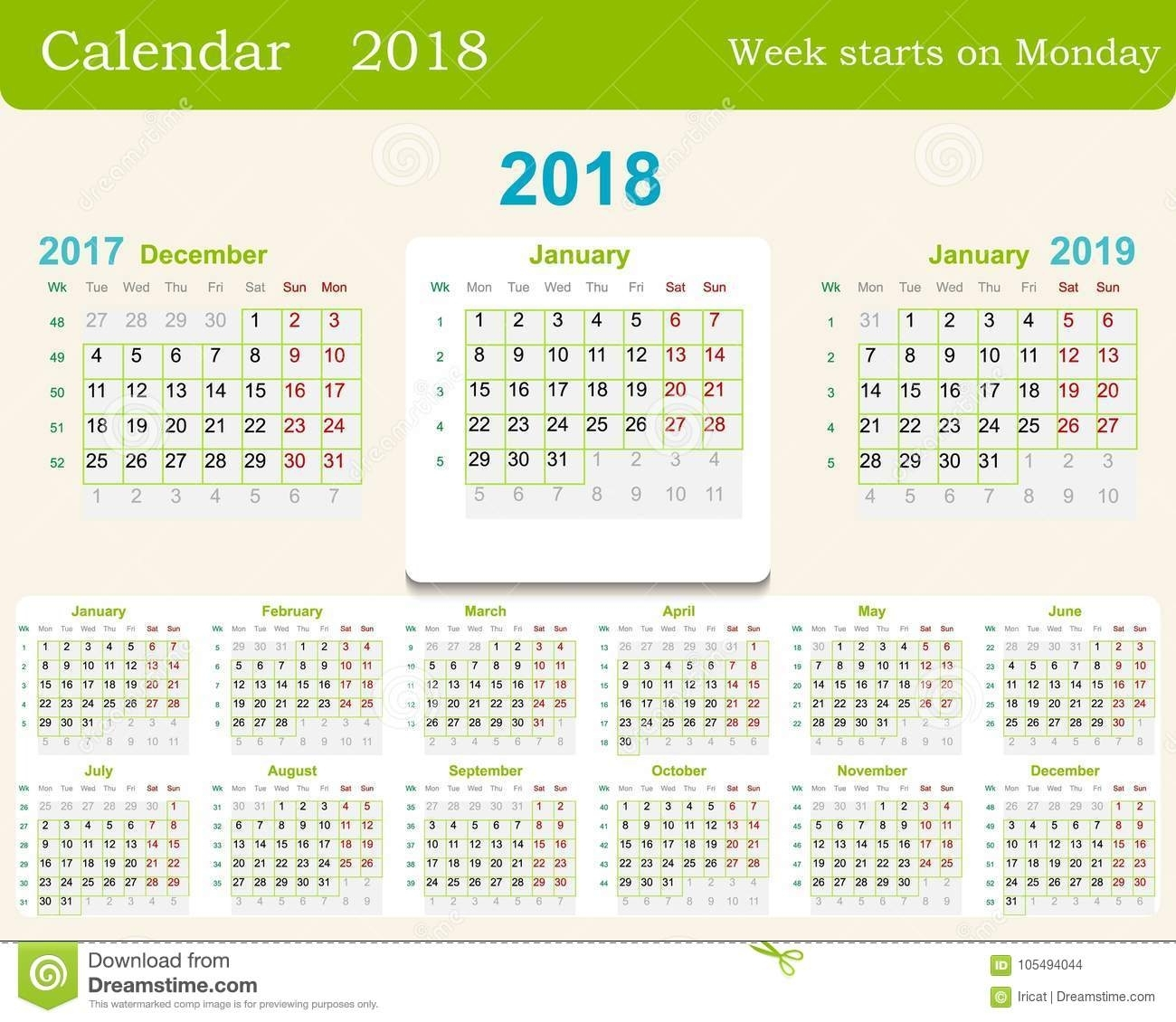Calendar Grid For 2018 Week Starts From Monday And From