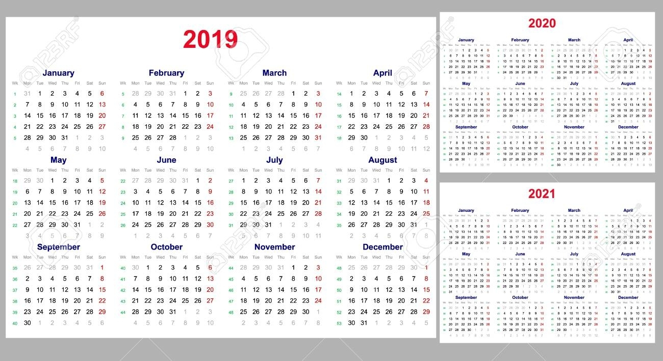Calendar Grid For 2019, 2020 And 2021 Years Set. The Week Starts..