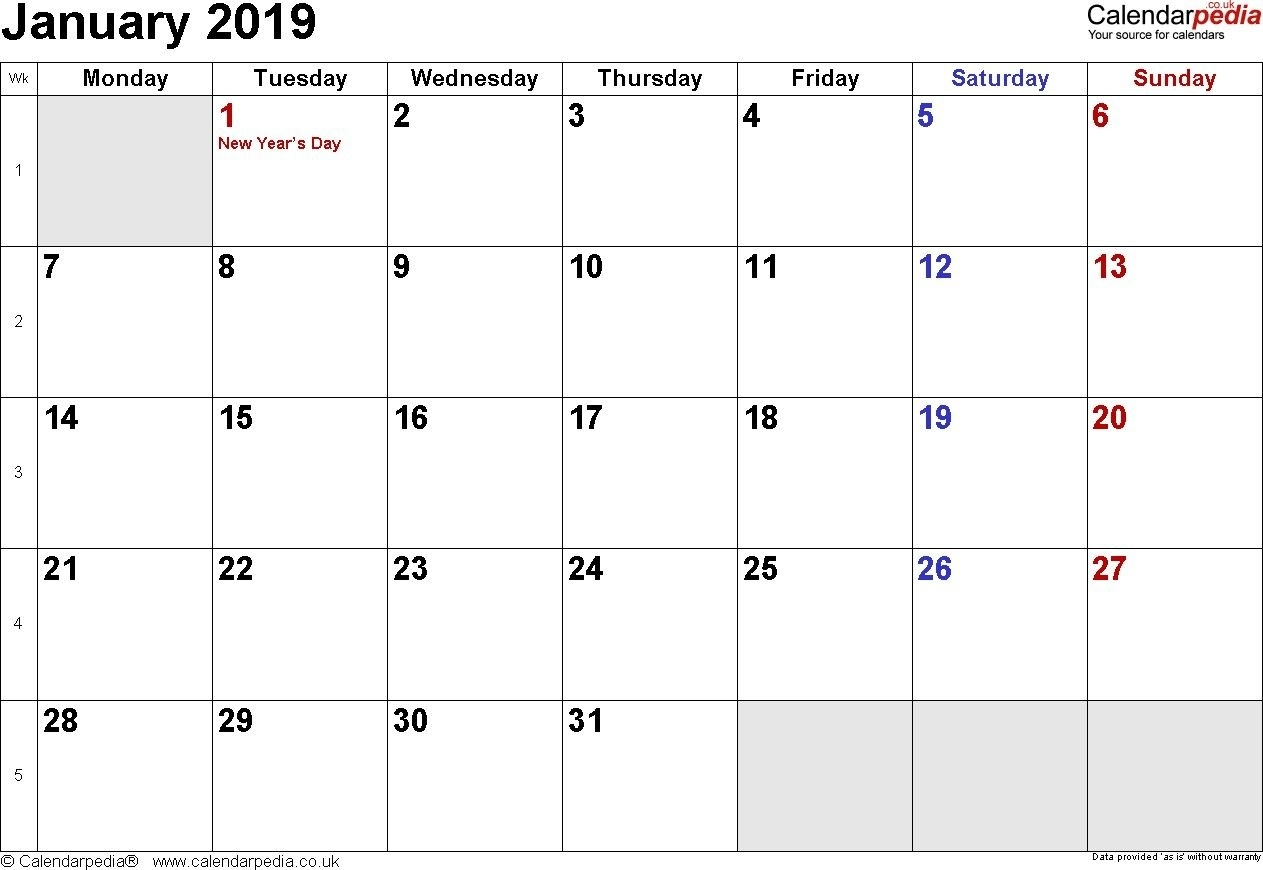 Calendar January 2019 Uk Bank Holidays Excel Pdf Word April