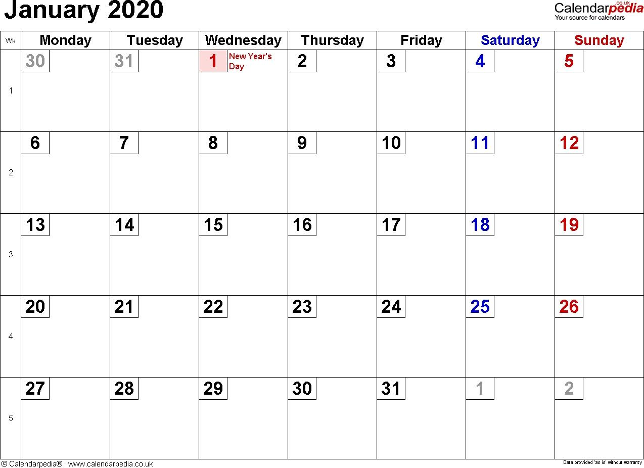 Calendar January 2020 Uk, Bank Holidays, Excel/pdf/word