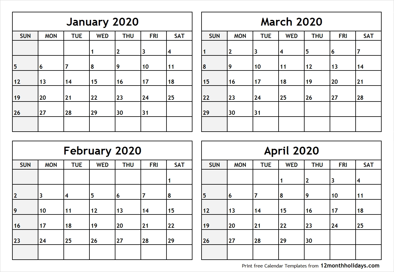 Calendar-January-To-April-2020-Printable - All 12 Month