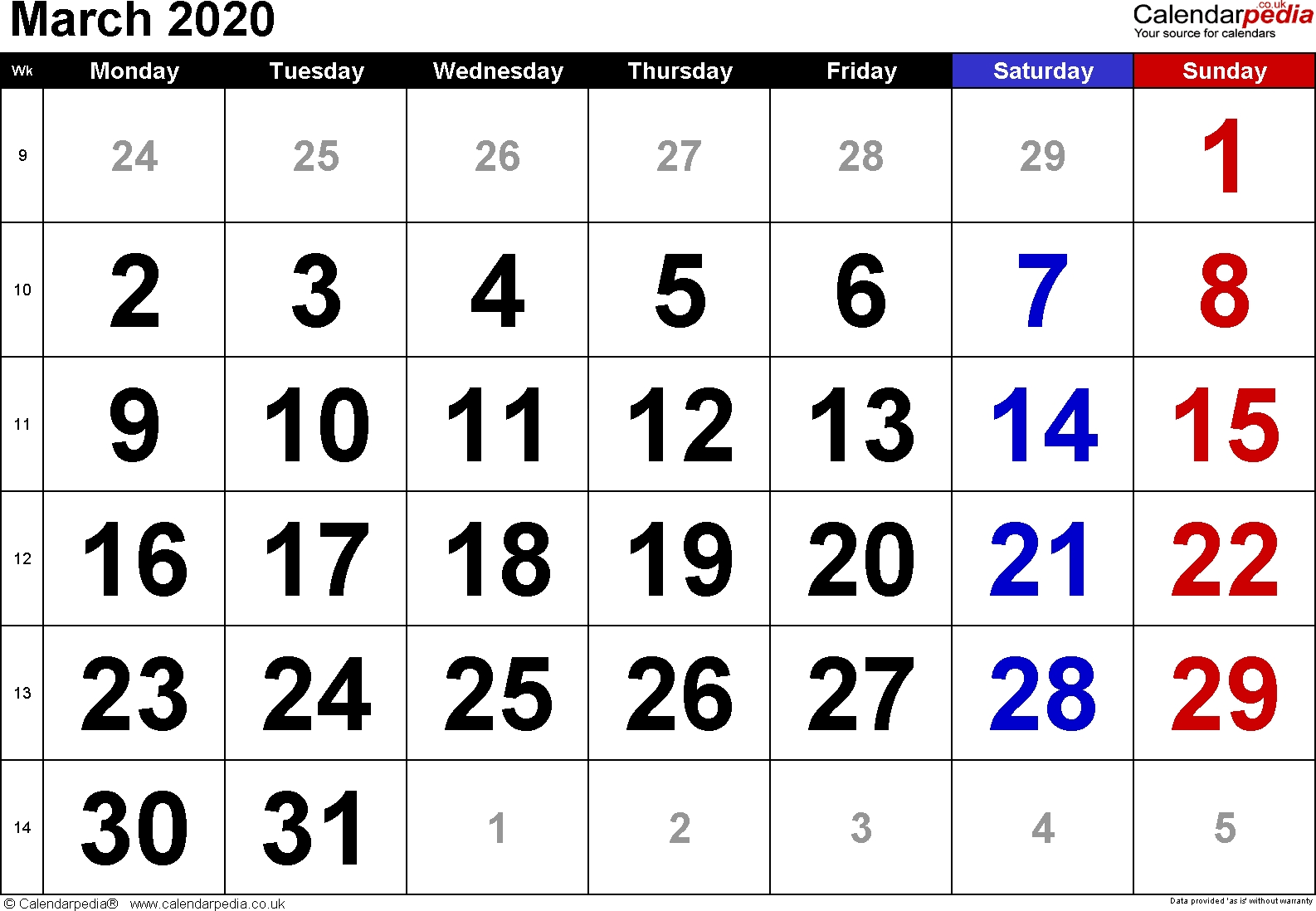 Calendar March 2020 Uk, Bank Holidays, Excel/pdf/word Templates