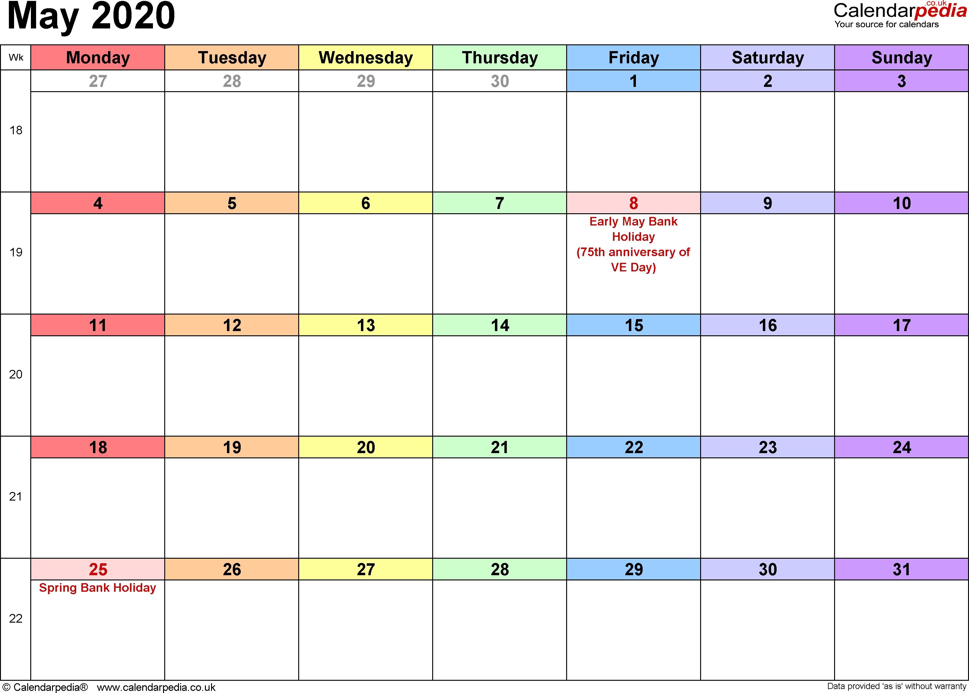 Calendar May 2020 Uk, Bank Holidays, Excel/pdf/word Templates