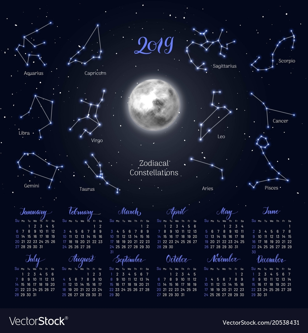 Calendar Moon Zodiac Constellations 2019 Night