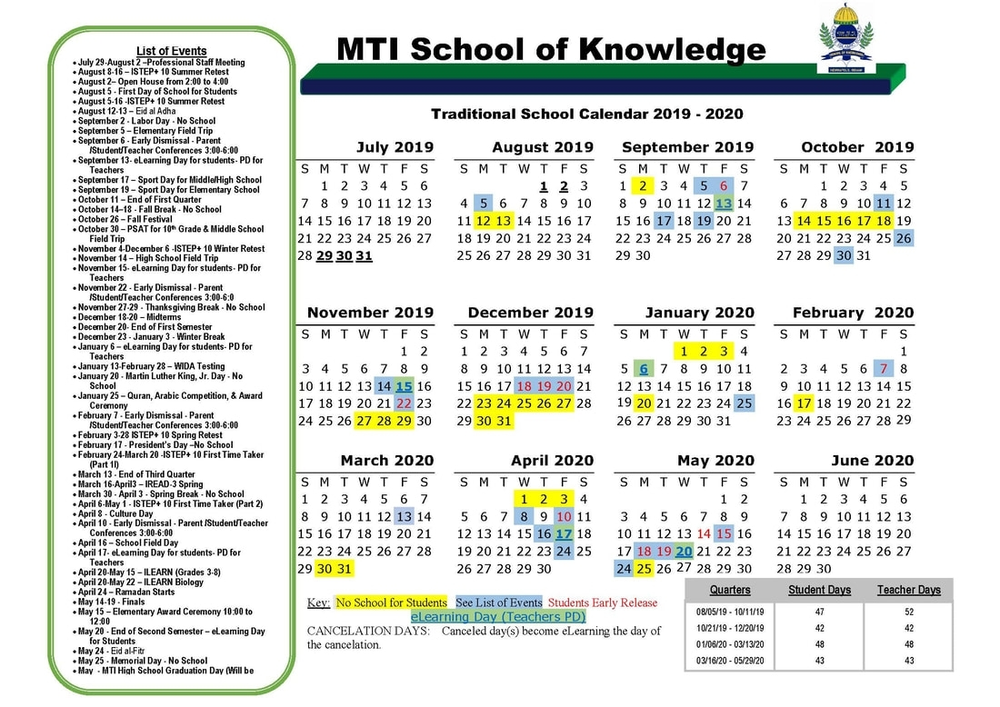 Calendar - Mti School Of Knowledge