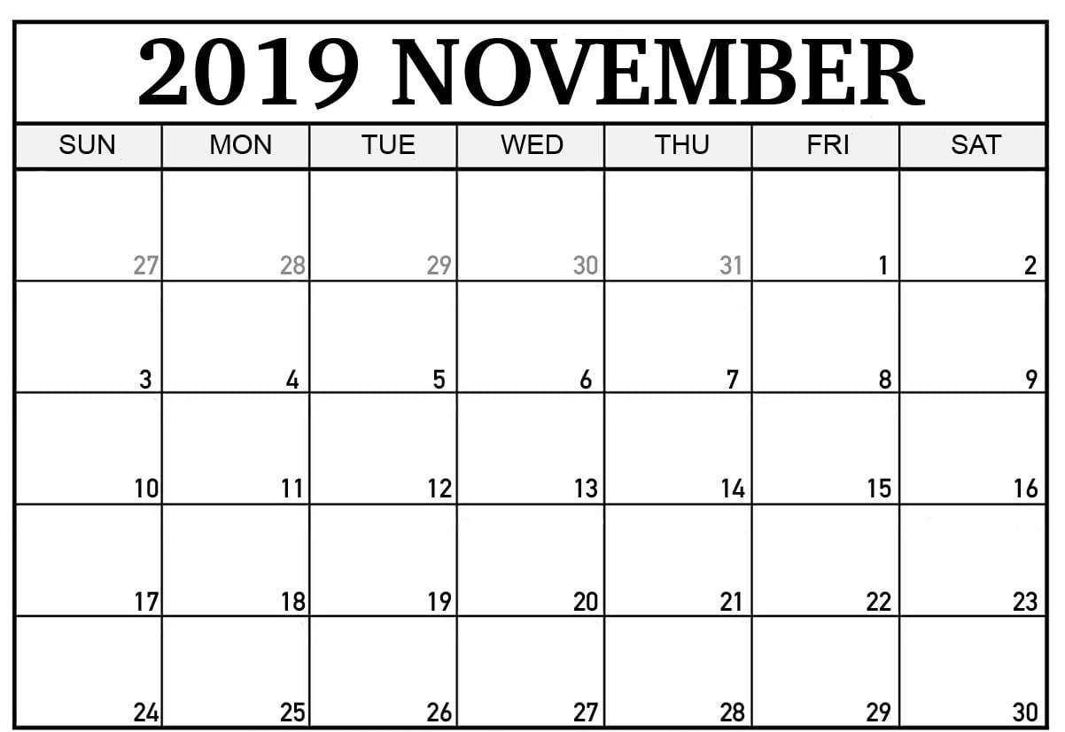 Calendar November 2019 In Pdf, Word, Excel Printable Template