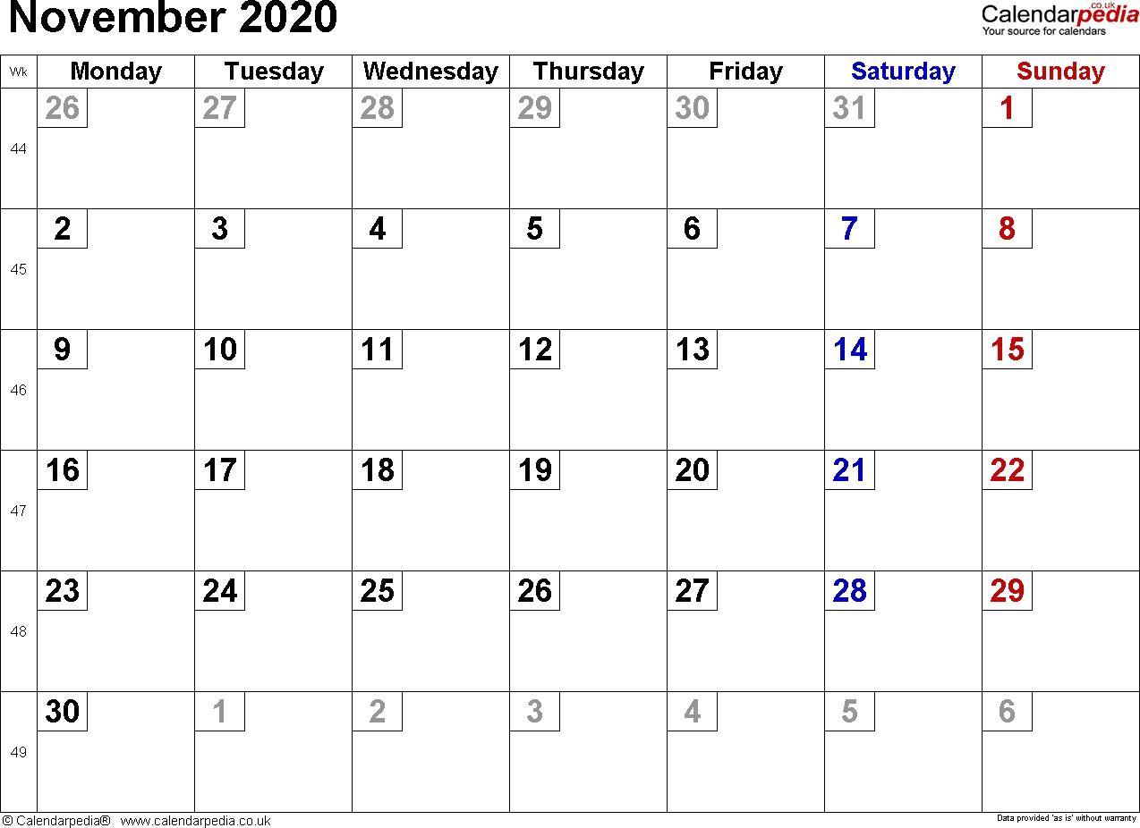 Calendar November 2020 Uk, Bank Holidays, Excel/pdf/word