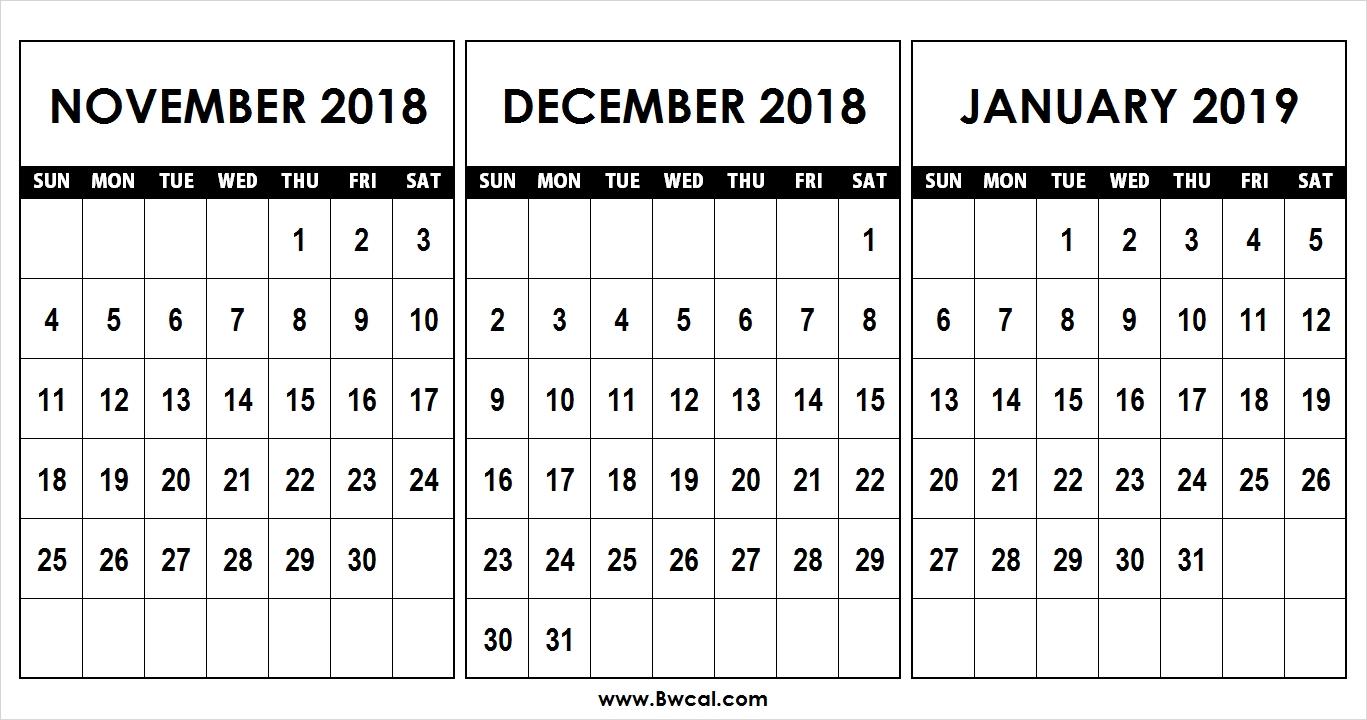 Calendar November December 2018 January 2019 Template