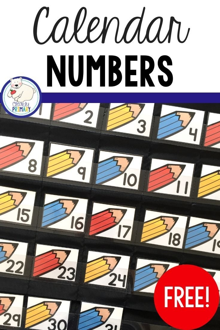 Calendar Numbers Freebie | Calendar Numbers, Preschool