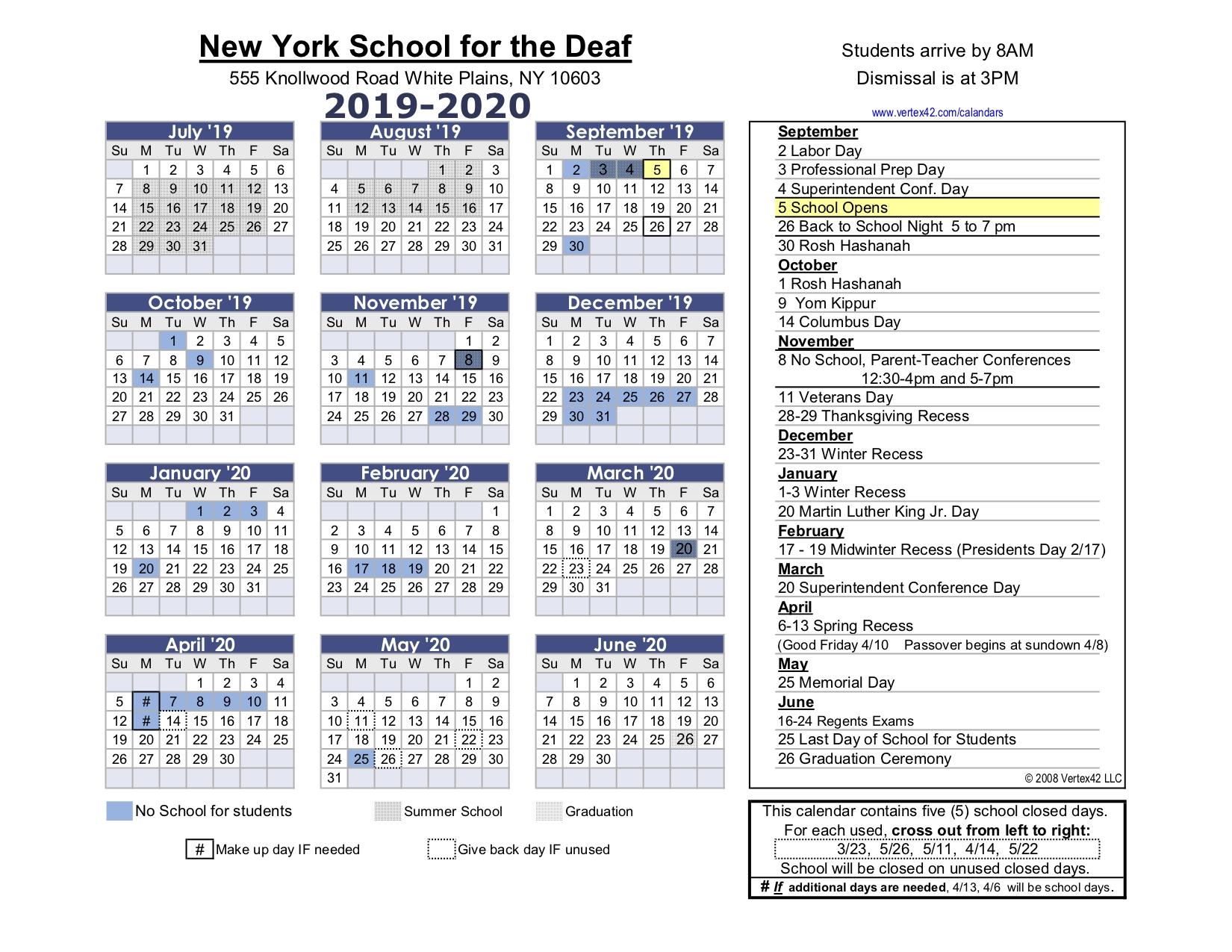Calendar - Nysd