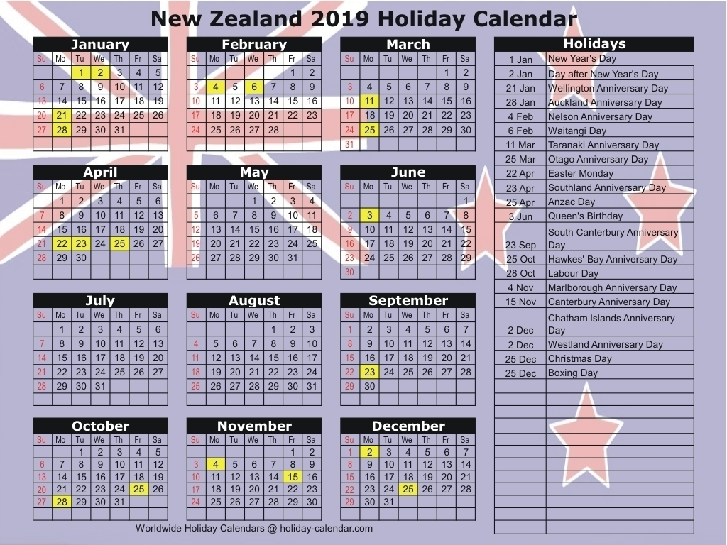 Calendar Nz Holidays | One Page Calendar Printable
