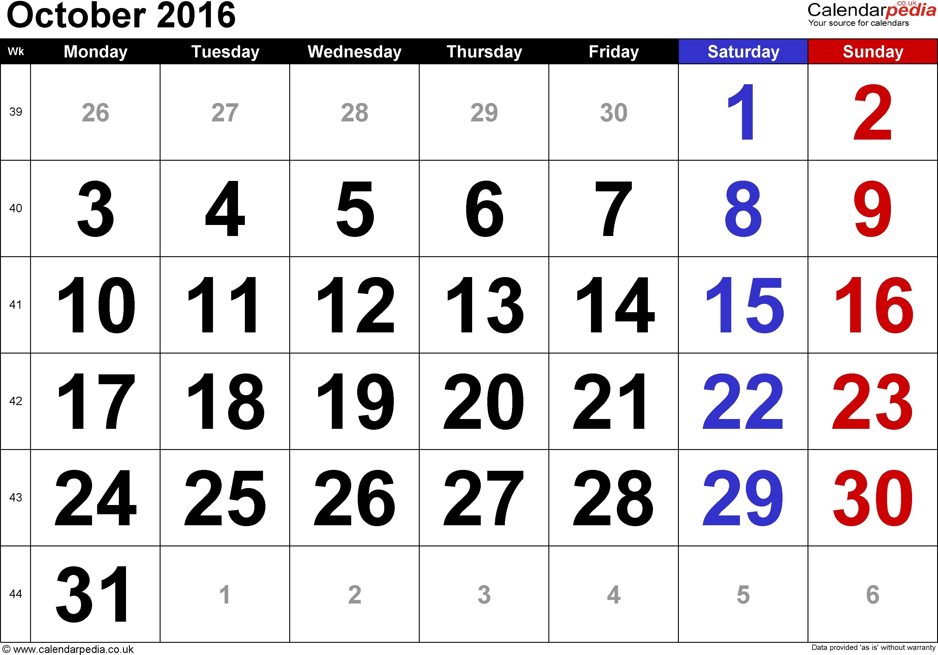 Calendar October 2016 Uk, Bank Holidays, Excel/pdf/word