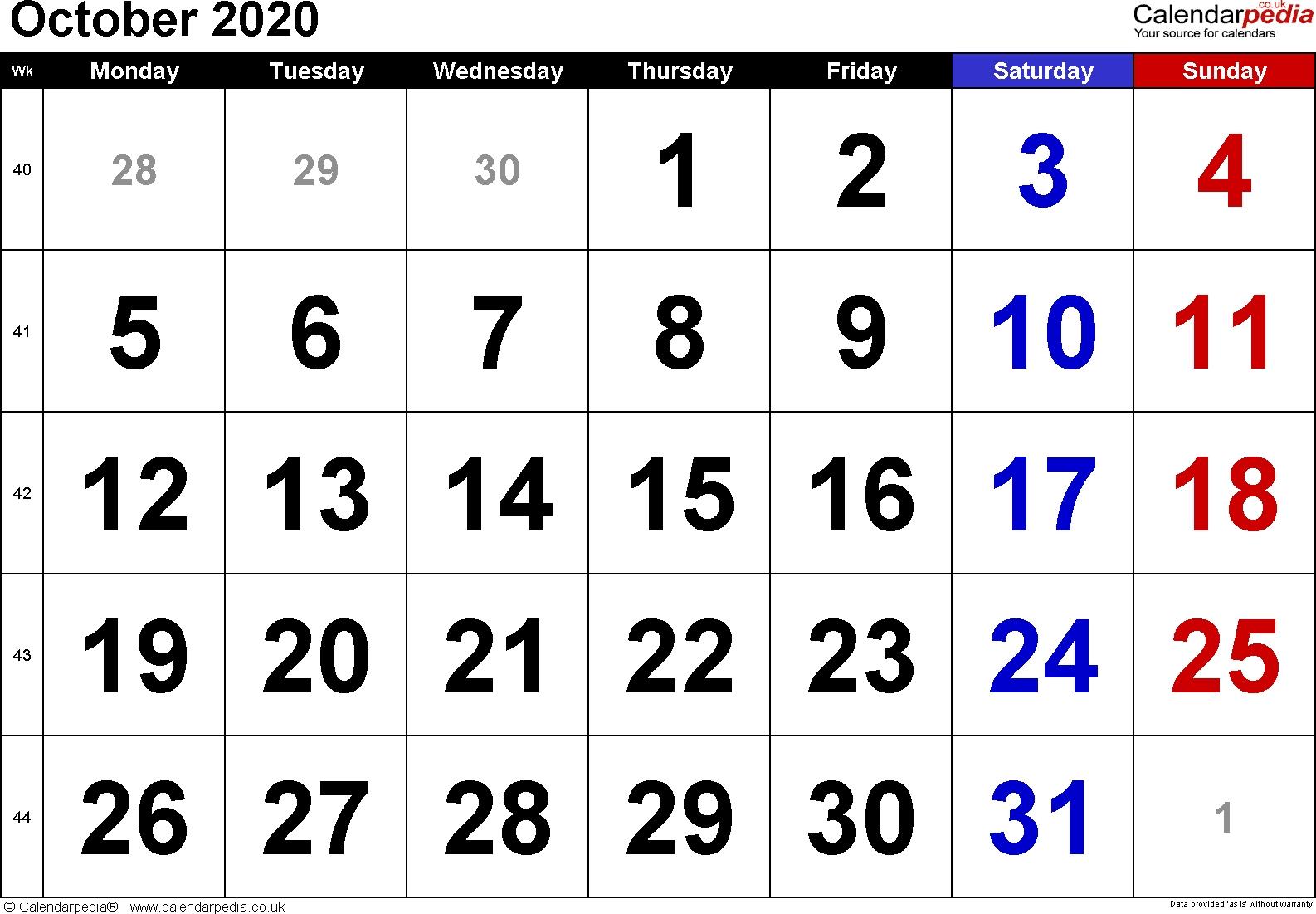 Calendar October 2020 Uk, Bank Holidays, Excel/pdf/word