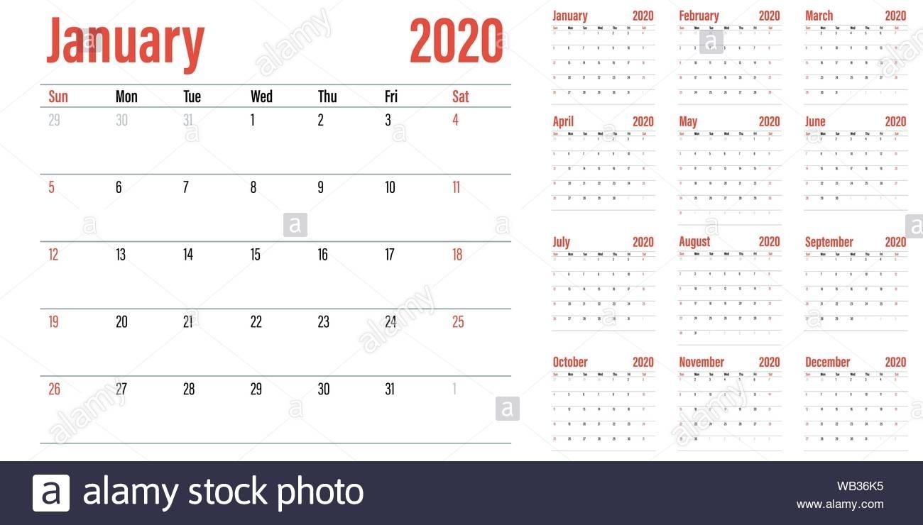 Calendar Planner 2020 Template Vector Illustration All 12