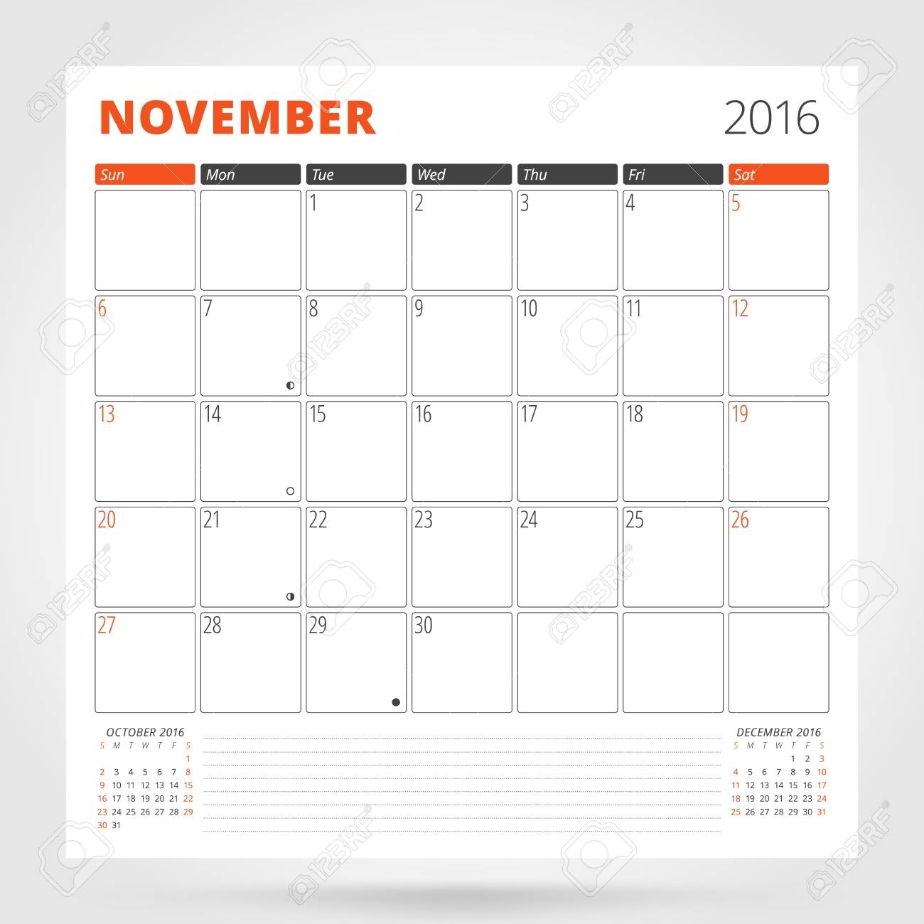 Calendar Planner For 2016 Year. November. Design Print Template..