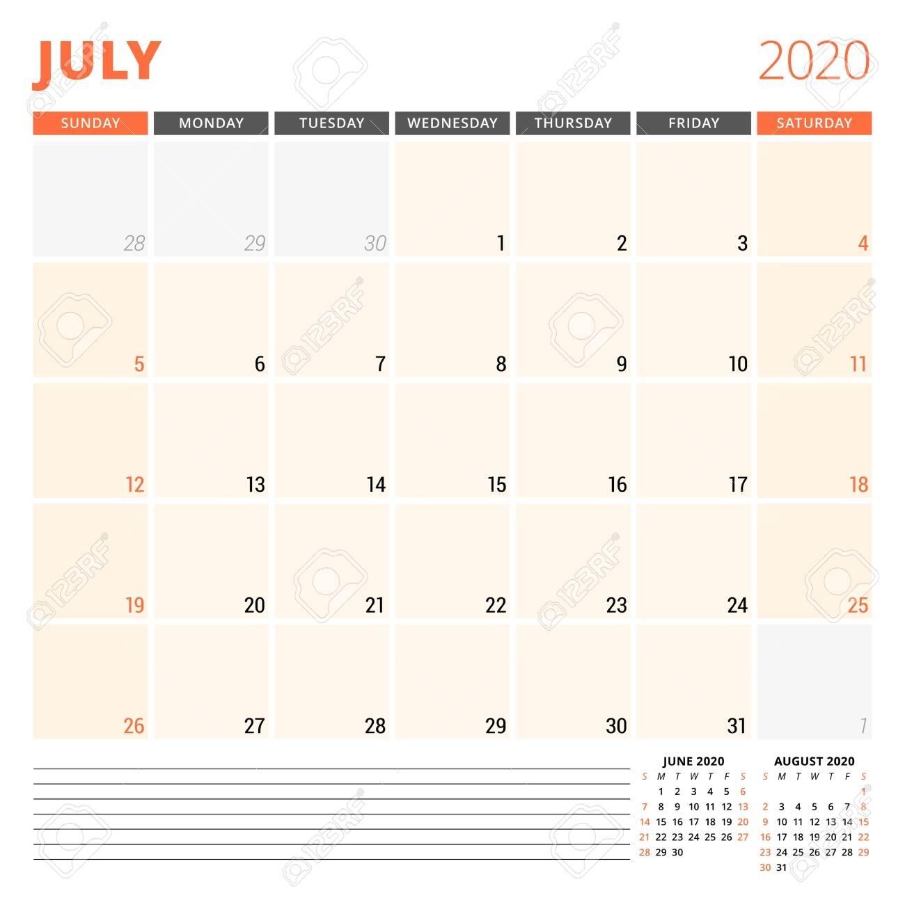 Calendar Planner For July 2020. Stationery Design Template. Week..