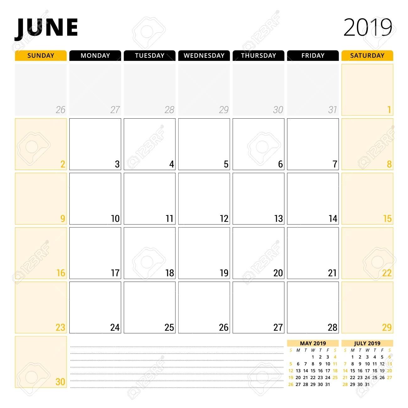 Calendar Planner For June 2019. Stationery Design Template. Week..