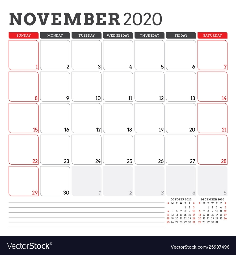 Calendar Planner For November 2020 Week Starts On