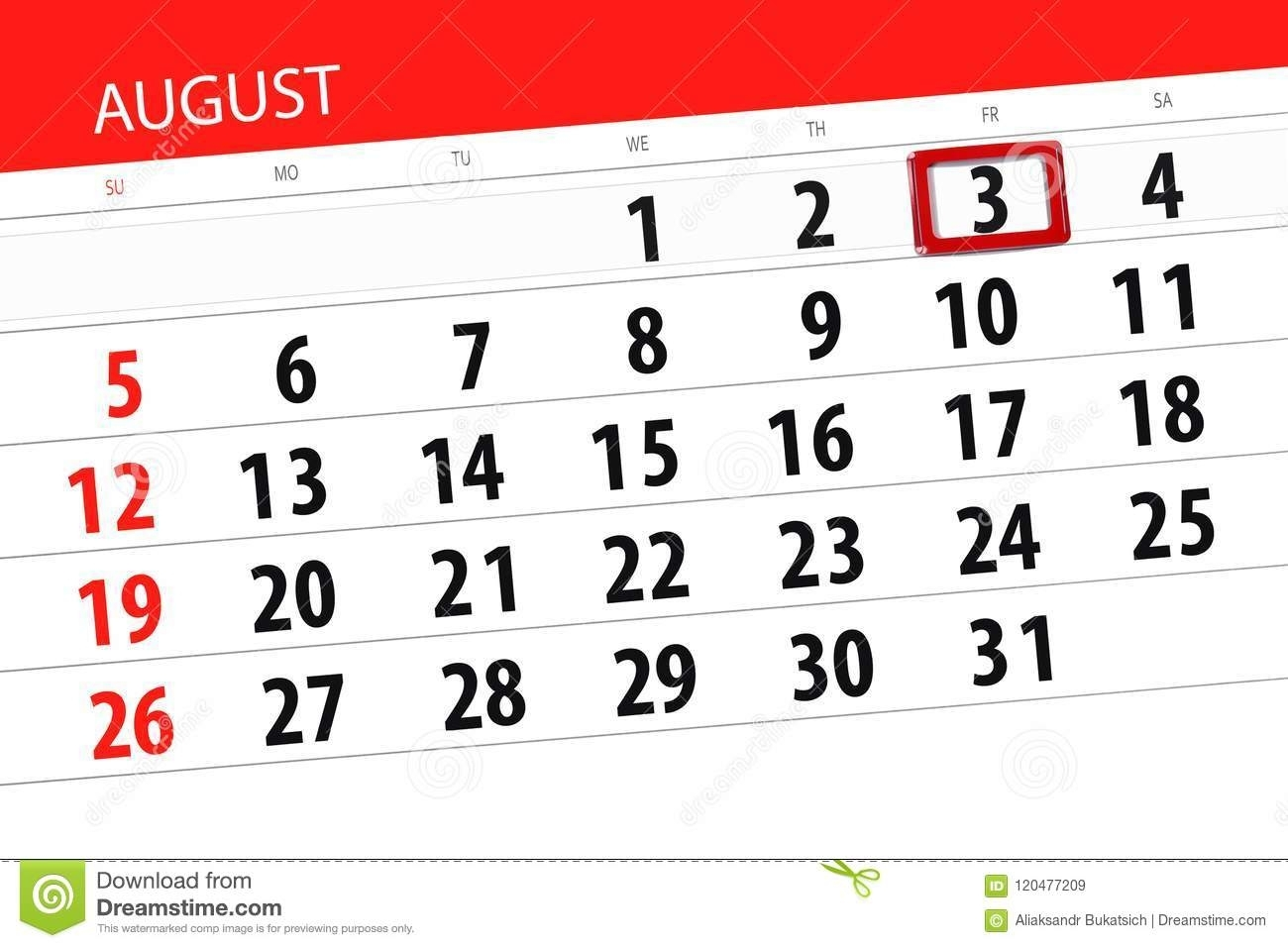 Calendar Planner For The Month, Deadline Day Of The Week