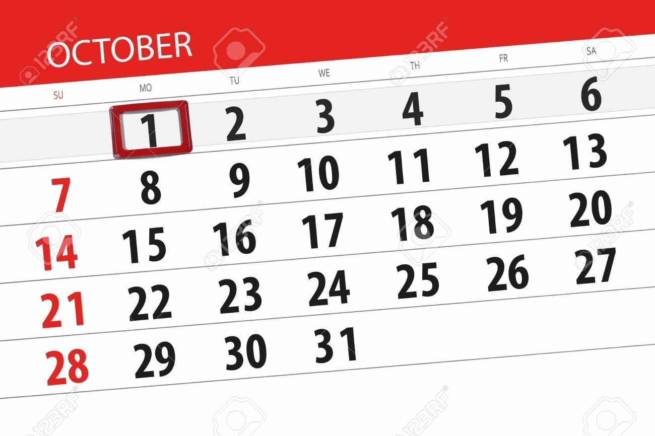 Calendar Planner For The Month, Deadline Day Of Week 2018 October,..