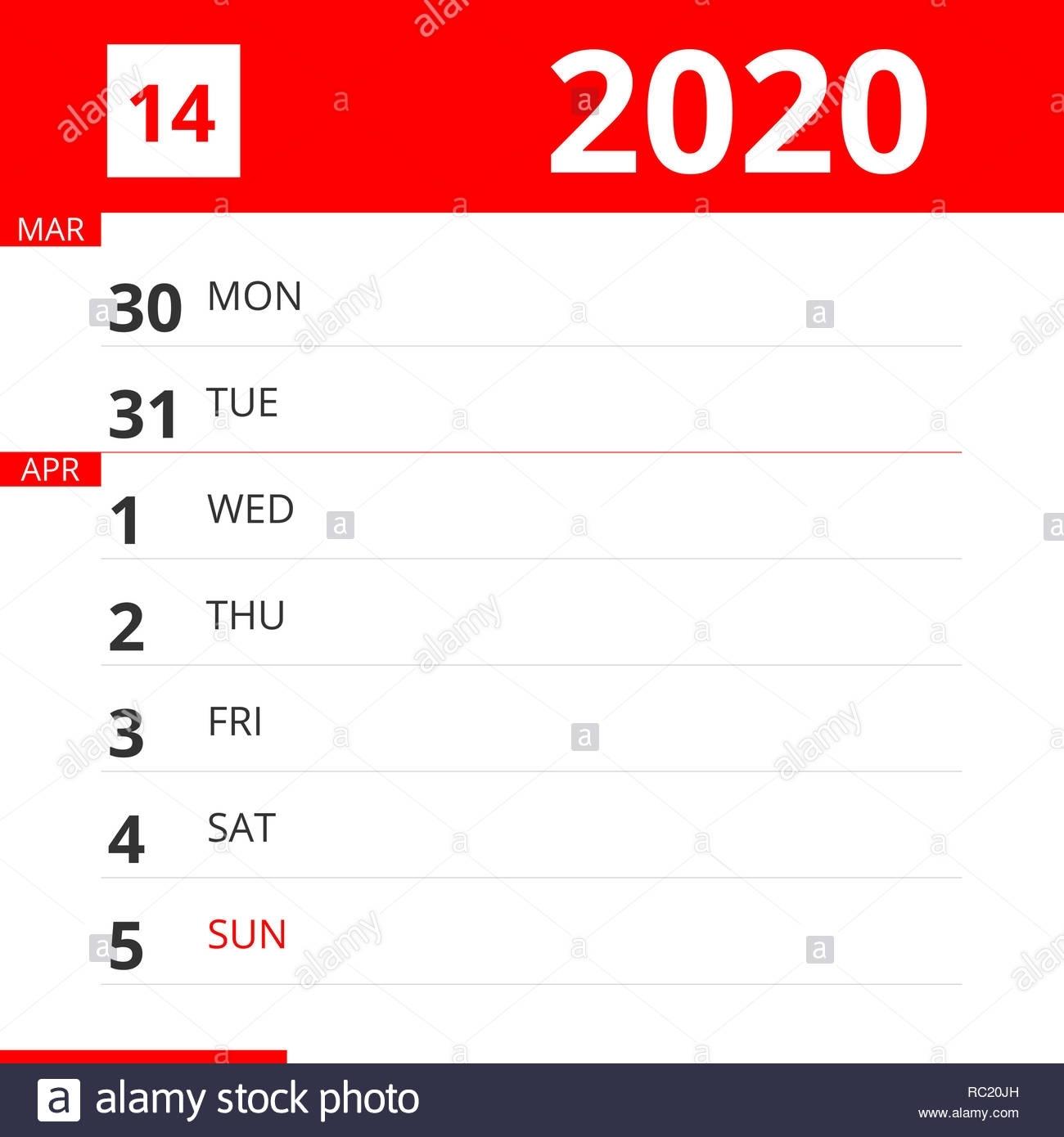 Calendar Planner For Week 14 In 2020, Ends April 5, 2020
