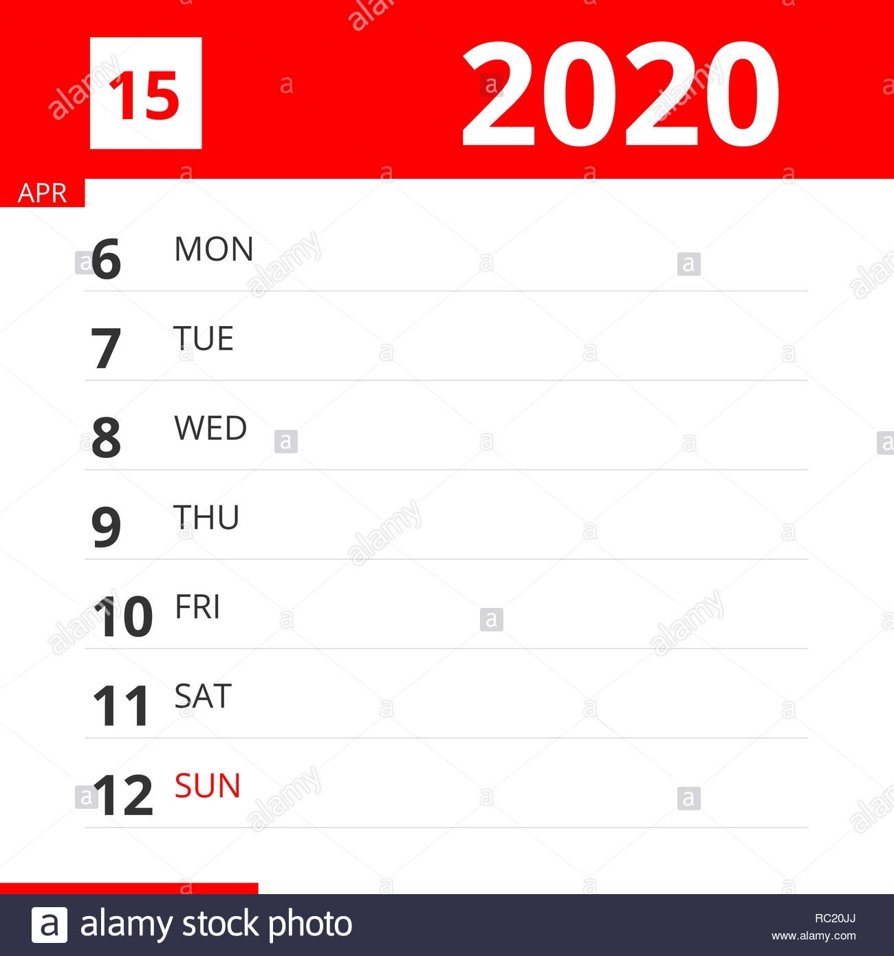 Calendar Planner For Week 15 In 2020, Ends April 12, 2020