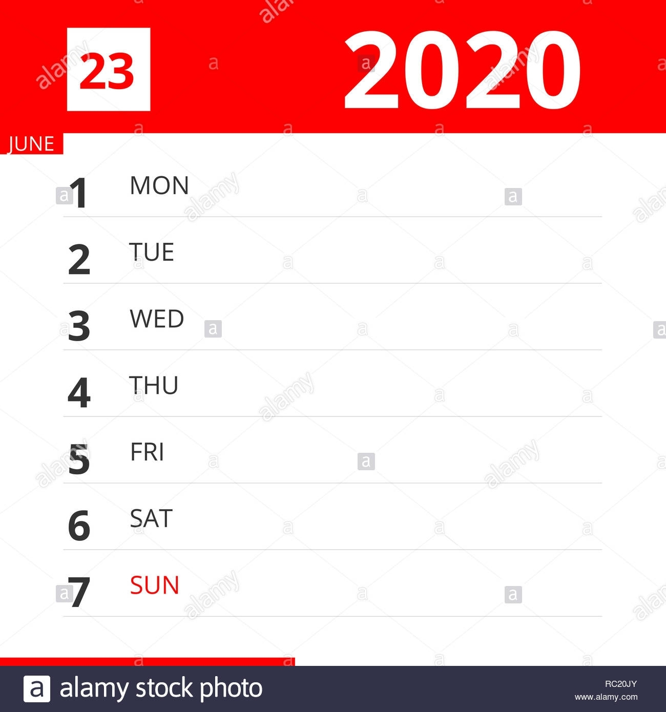Calendar Planner For Week 23 In 2020, Ends June 7, 2020