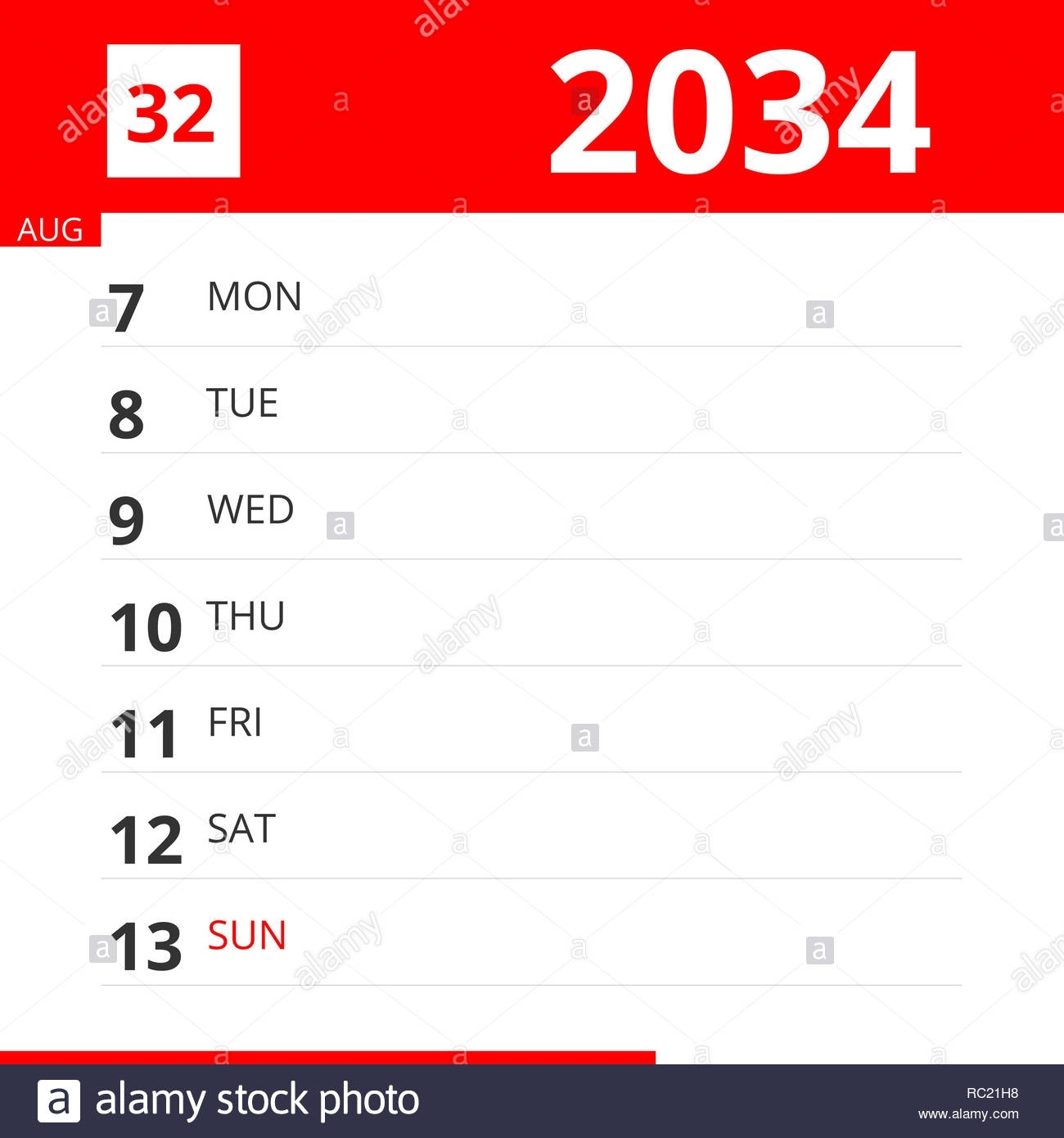 Calendar Planner For Week 32 In 2034, Ends August 13, 2034