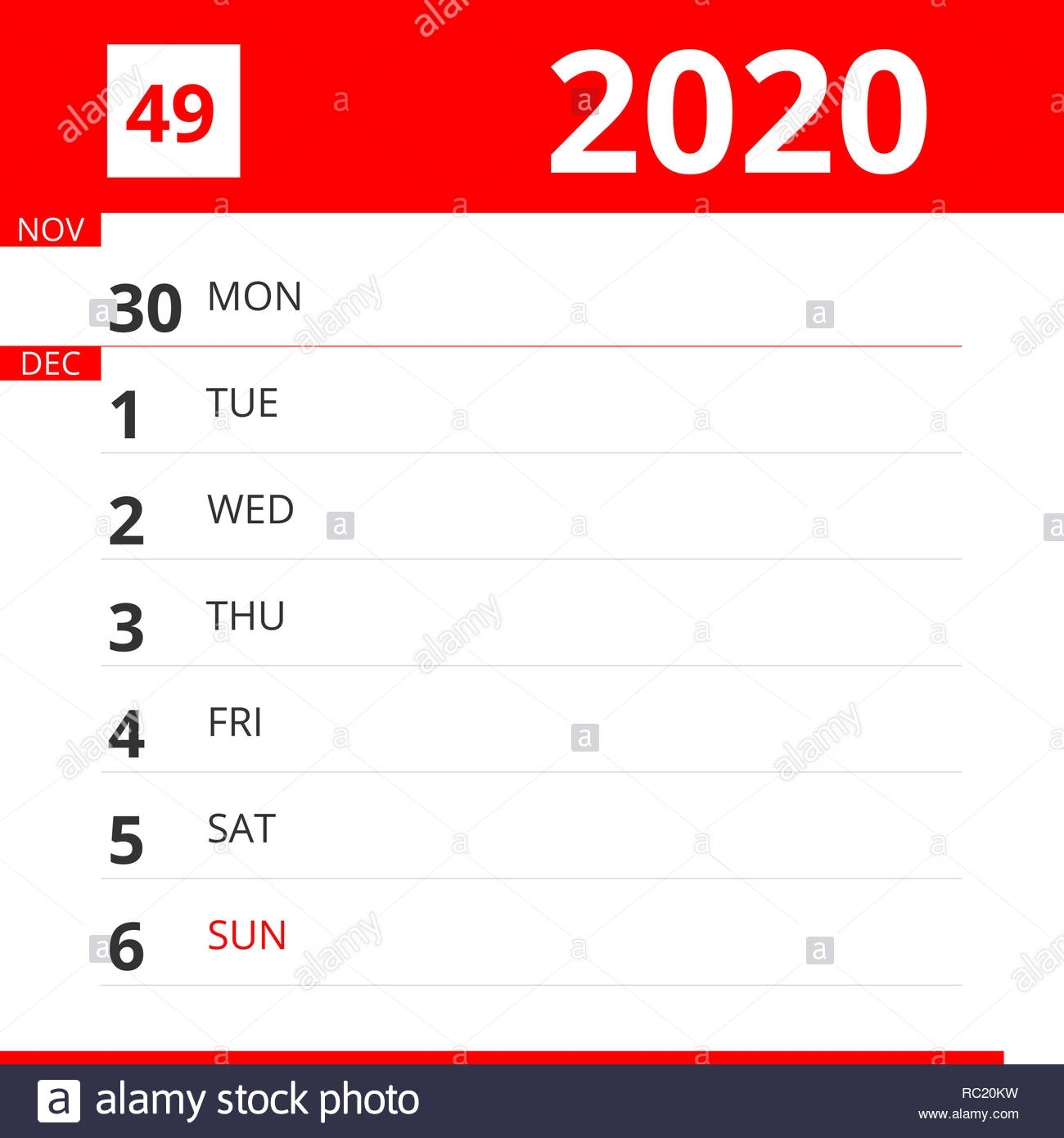 Calendar Planner For Week 49 In 2020, Ends December 6, 2020