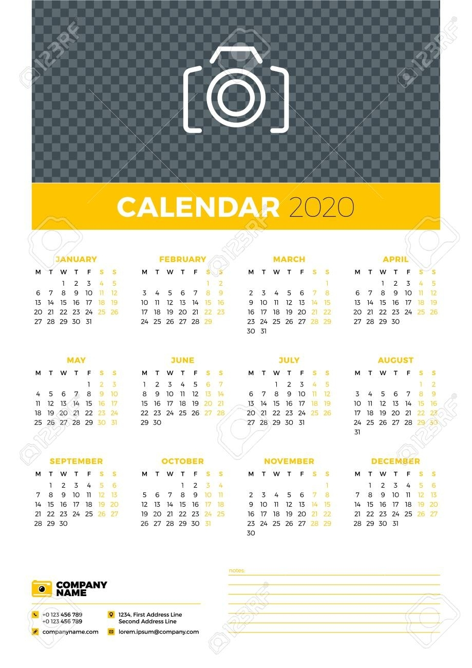 Calendar Poster For 2020 Year. Week Starts On Monday. Printable..