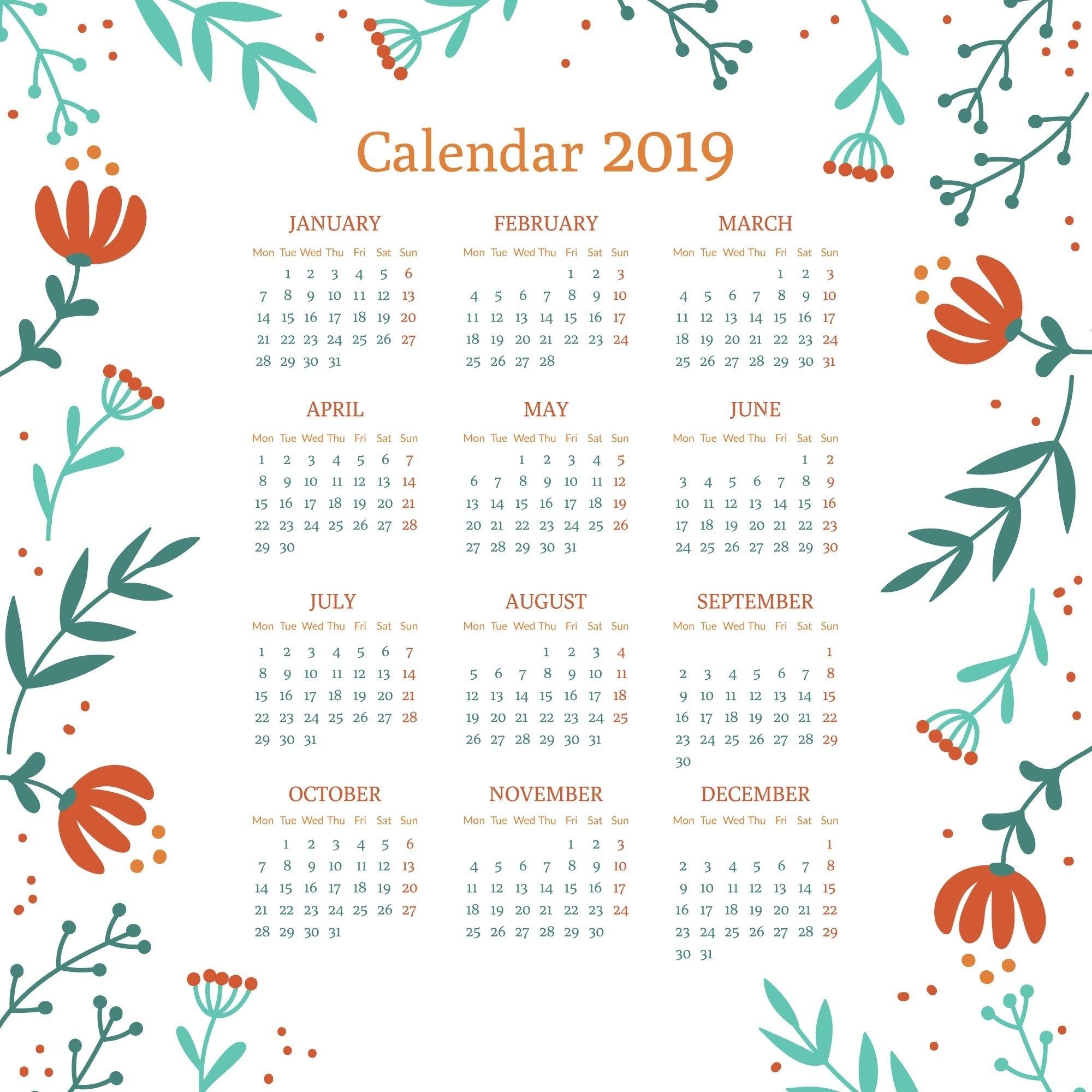 Calendar Printable 2019 Template | Printable Calendar