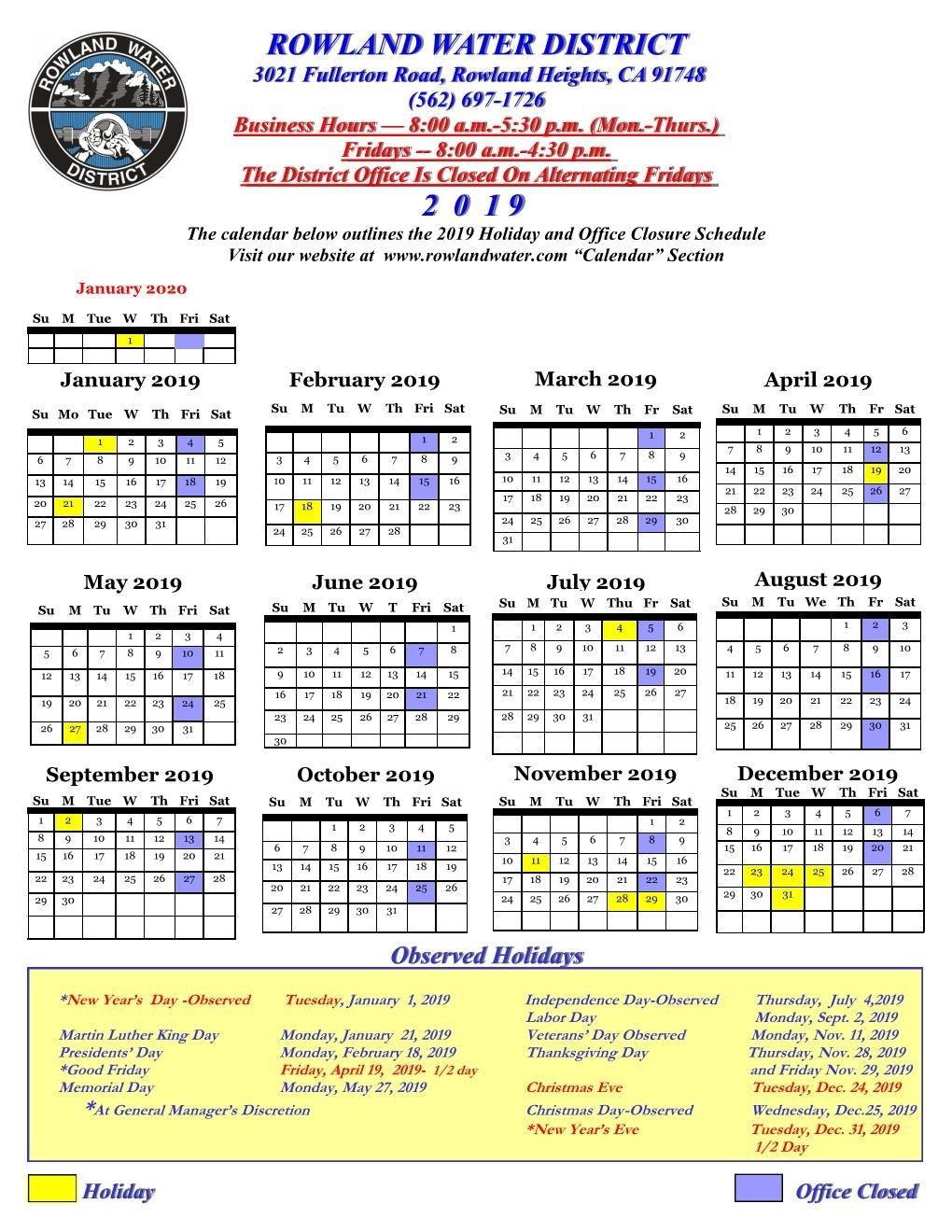 Calendar | Rowland Water District