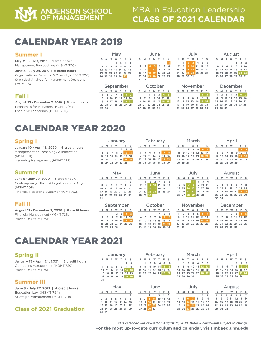 Calendar, Schedule, And Course Descriptions :: Anderson Mba