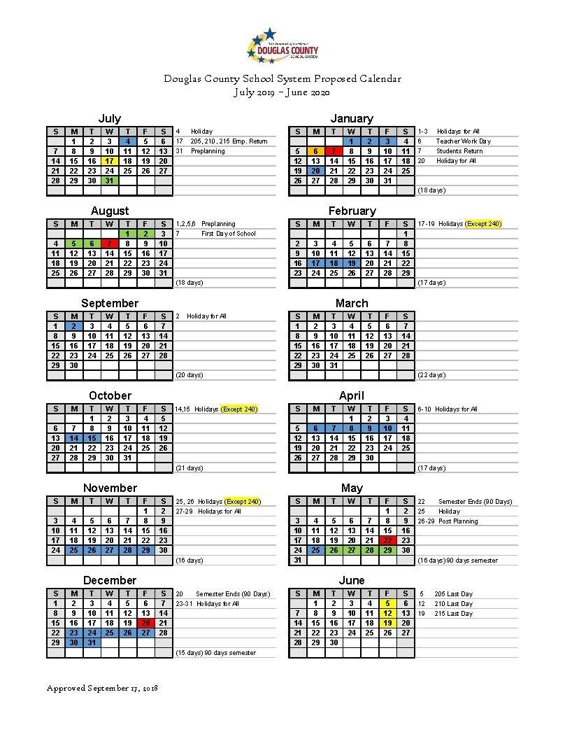 Calendar Set For 2019-2020 - Douglas County School System