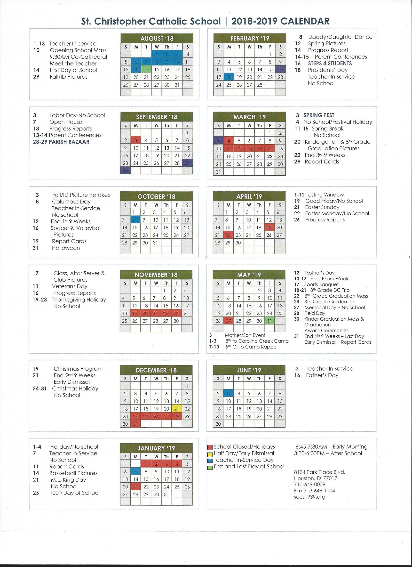 Calendar : St. Christopher Catholic School