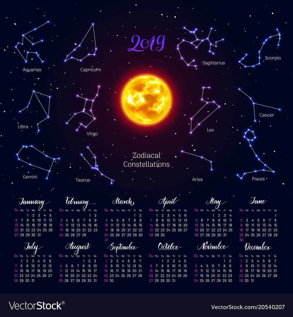 Calendar Sun Zodiac Signs 2019 Night Sky