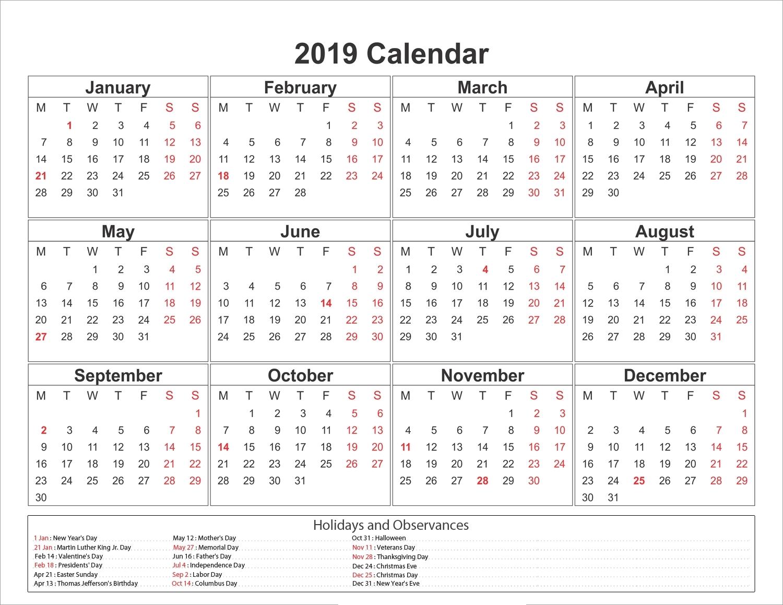 Calendar Template Calendarlabs 2019 • Printable Blank