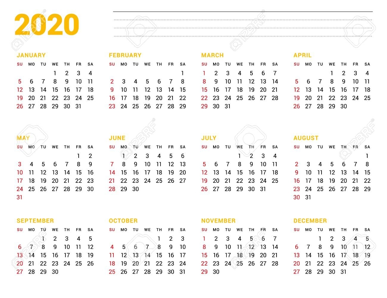 Calendar Template For 2020 Year. Stationery Design. Week Starts..
