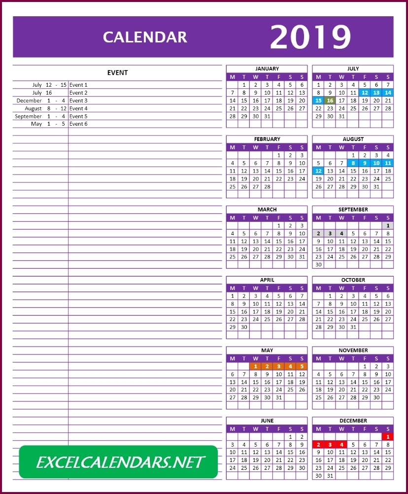 Calendar Templates For Year 2017 | 2018 | 2019 | 2020