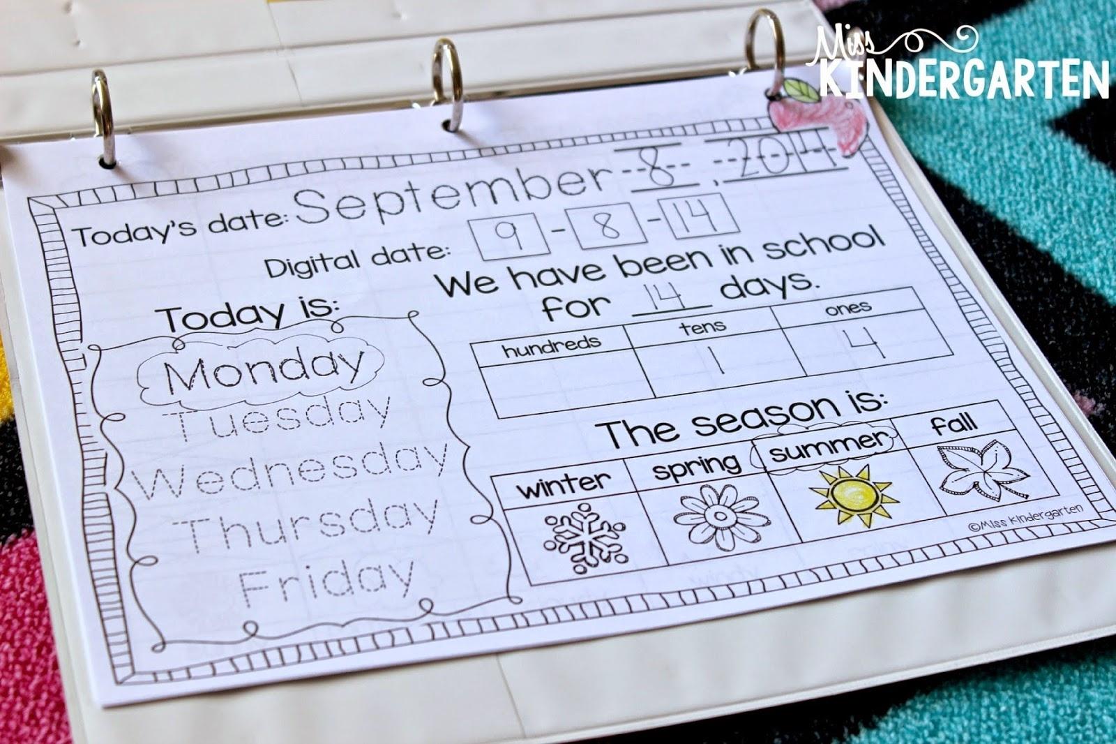 Calendar Time In Kindergarten - Miss Kindergarten