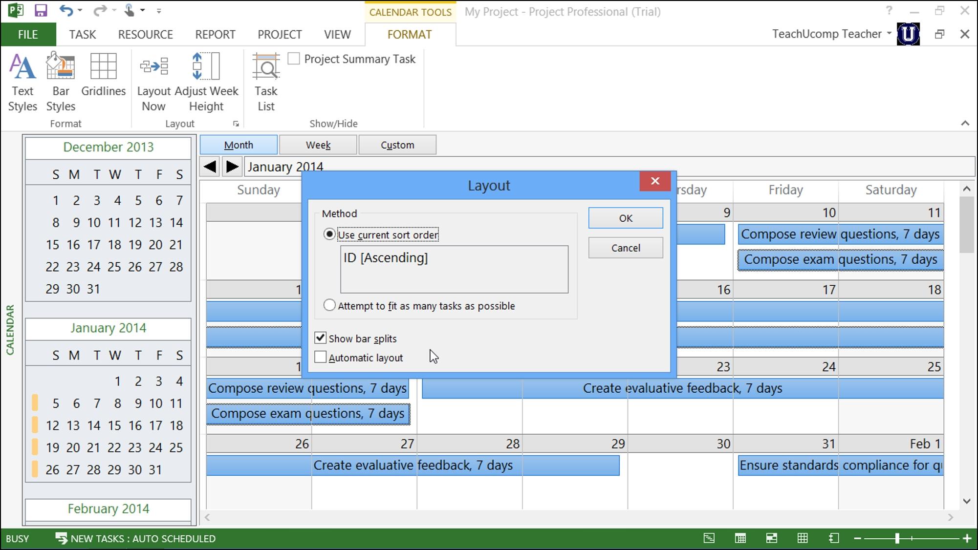 Calendar View In Microsoft Project - Tutorial