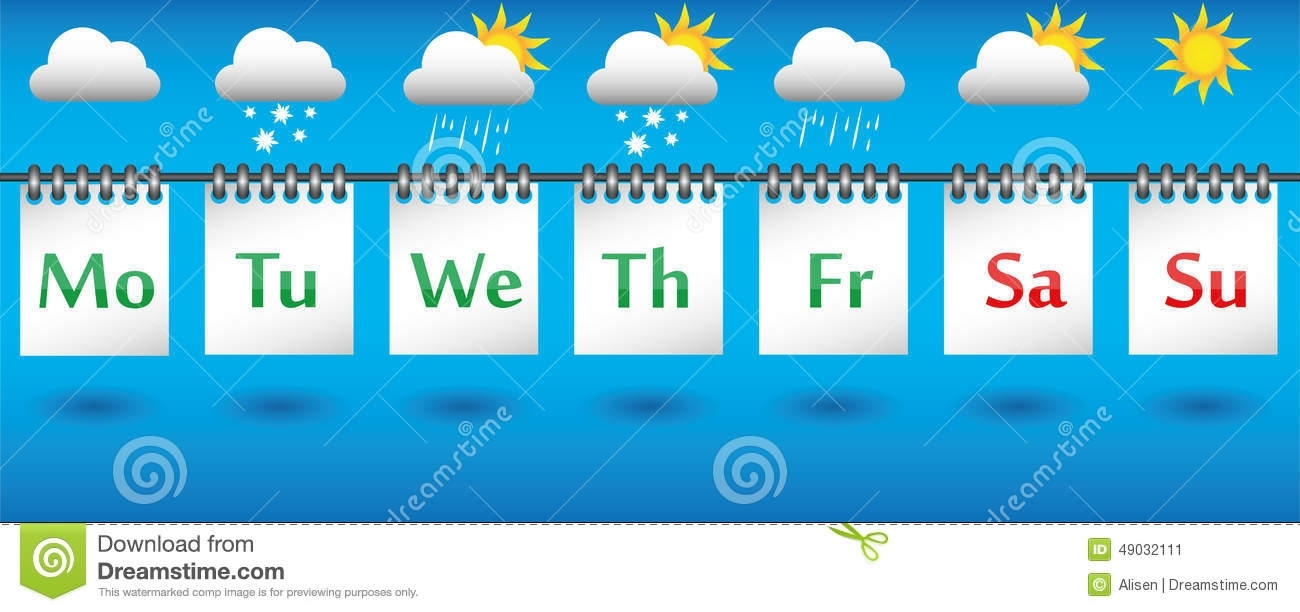 Calendar Weather Forecast For The Week, Icons And Badges