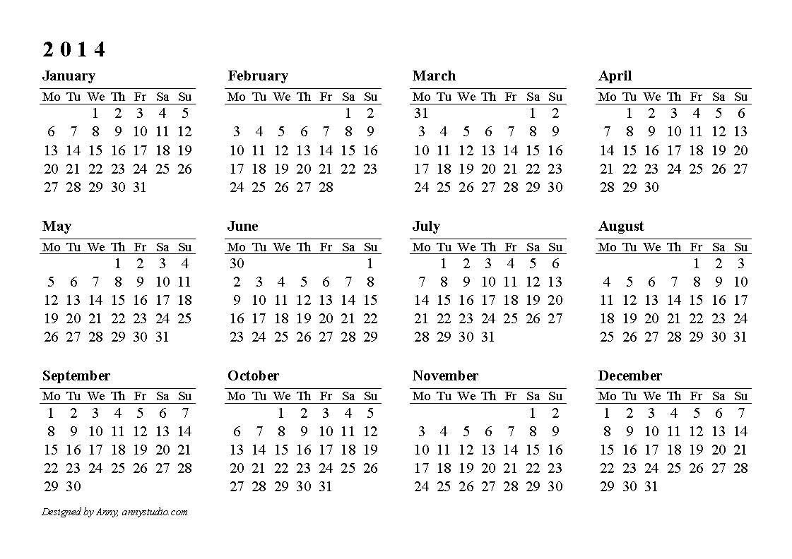 Calendarlabs 2014 | Free Printable Yearly Calendar | Online