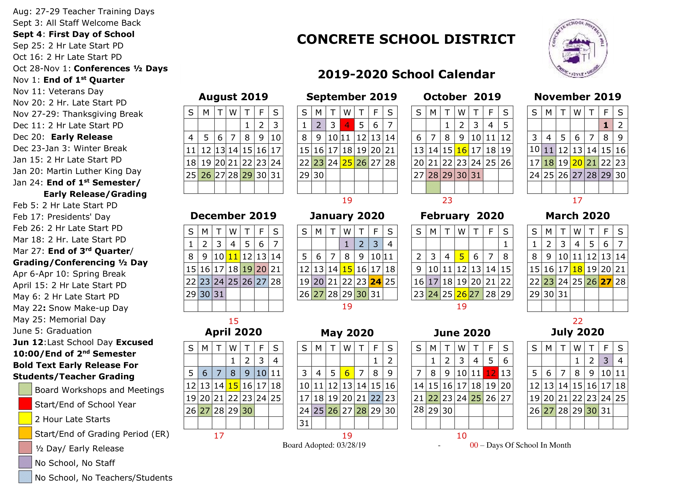 Calendars | Concrete School District