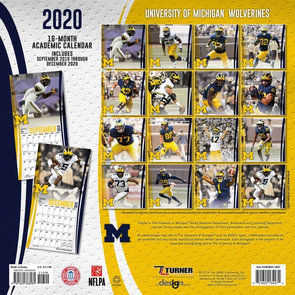 Calendars Michigan Wolverines Wall Calendar Fsc Certified Paper Full Color  Pages - All Major Holidays