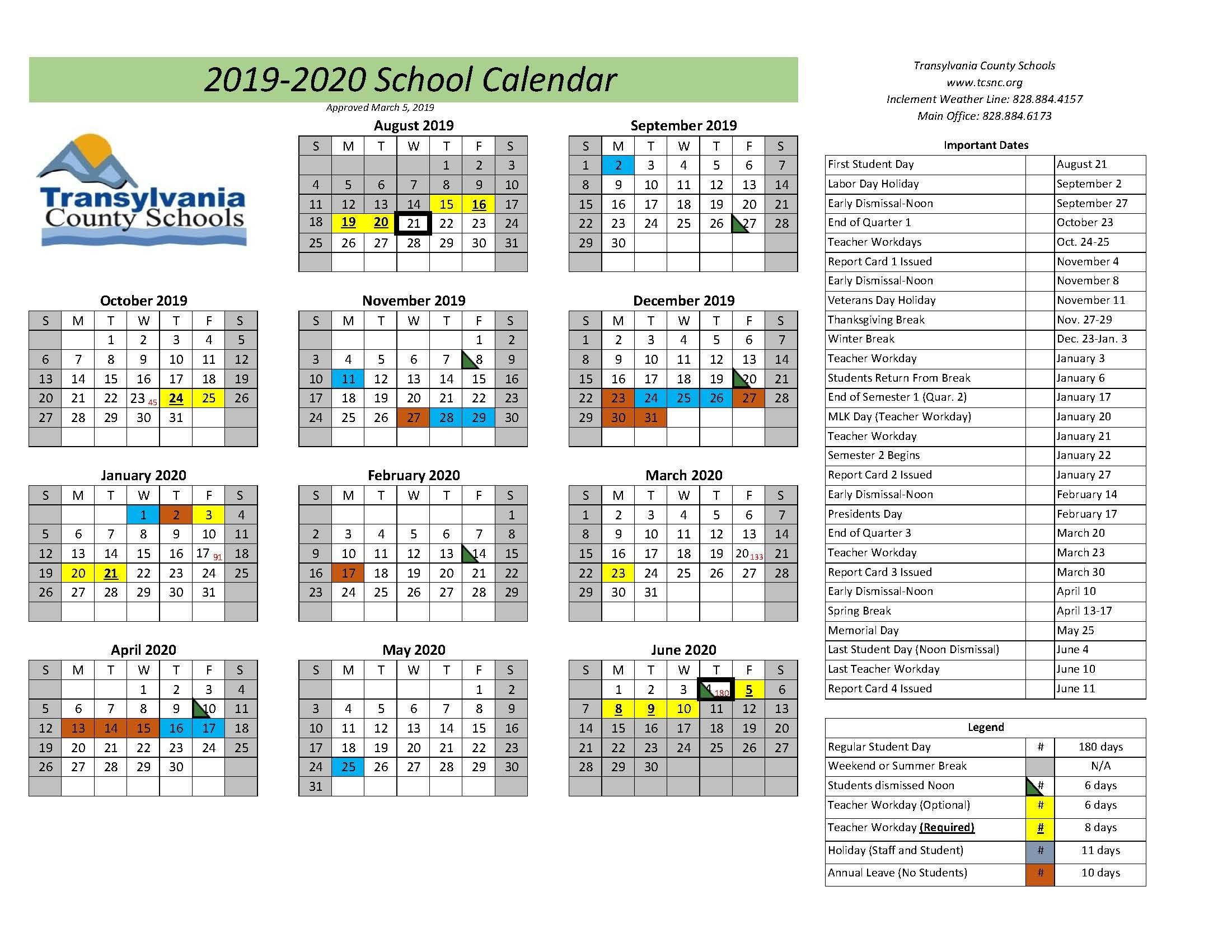Calendars - Transylvania County Schools