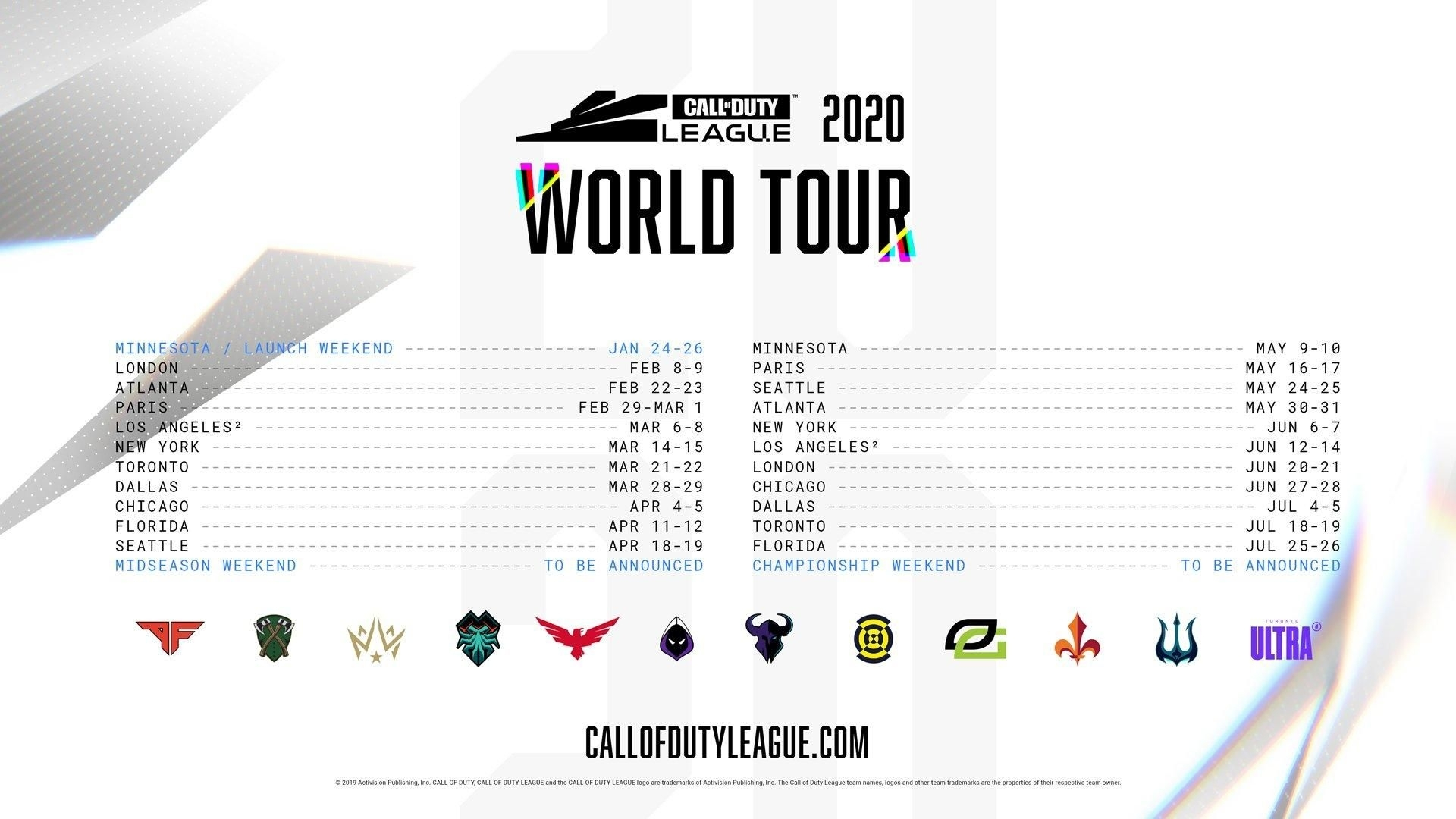 Call Of Duty League Announces Full Schedule & Locations For