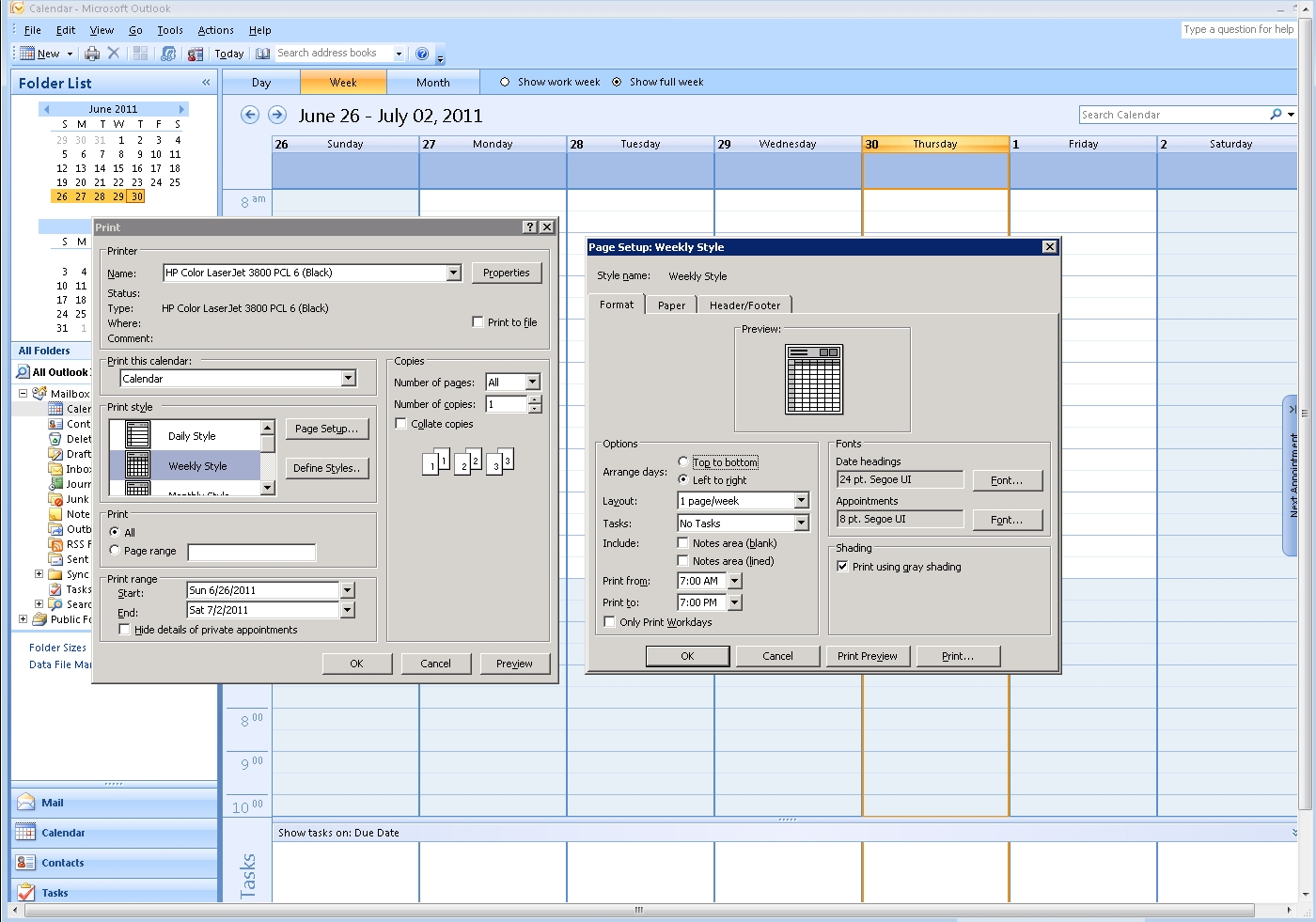 Can Ms Outlook 2007 Print The Entire Day's Schedule, In The